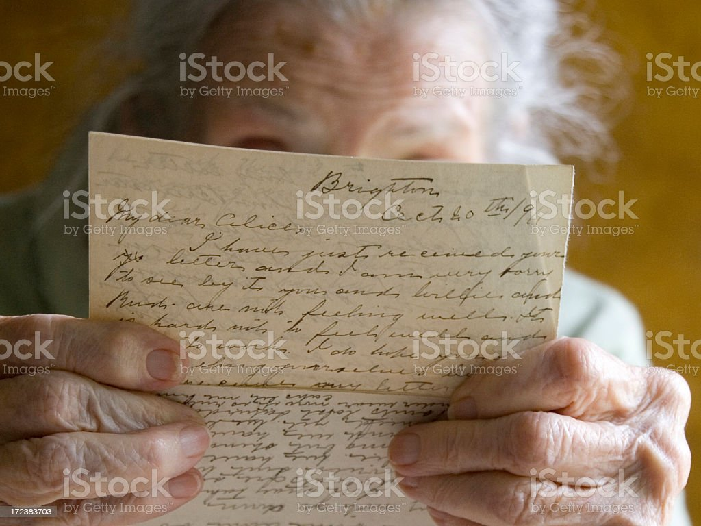 Reading old letters royalty-free stock photo