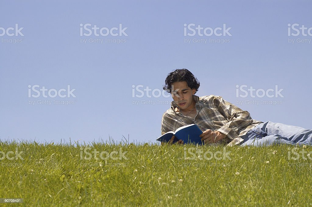 reading on the grass royalty-free stock photo