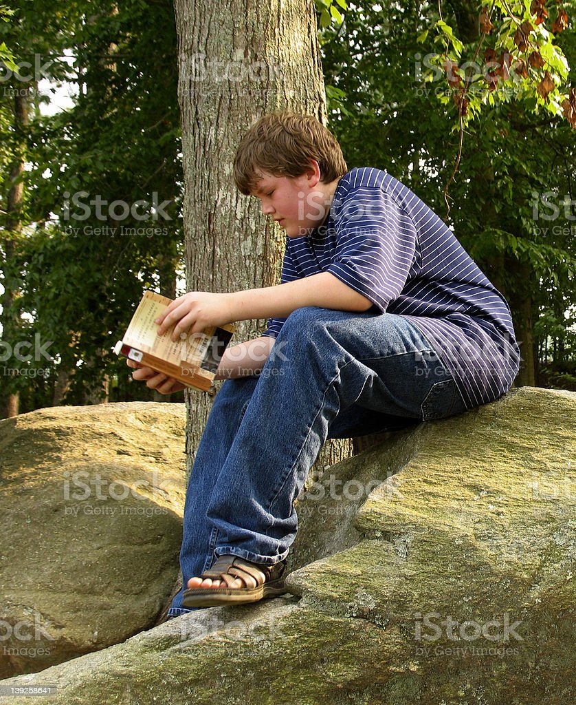 Reading on the rock royalty-free stock photo