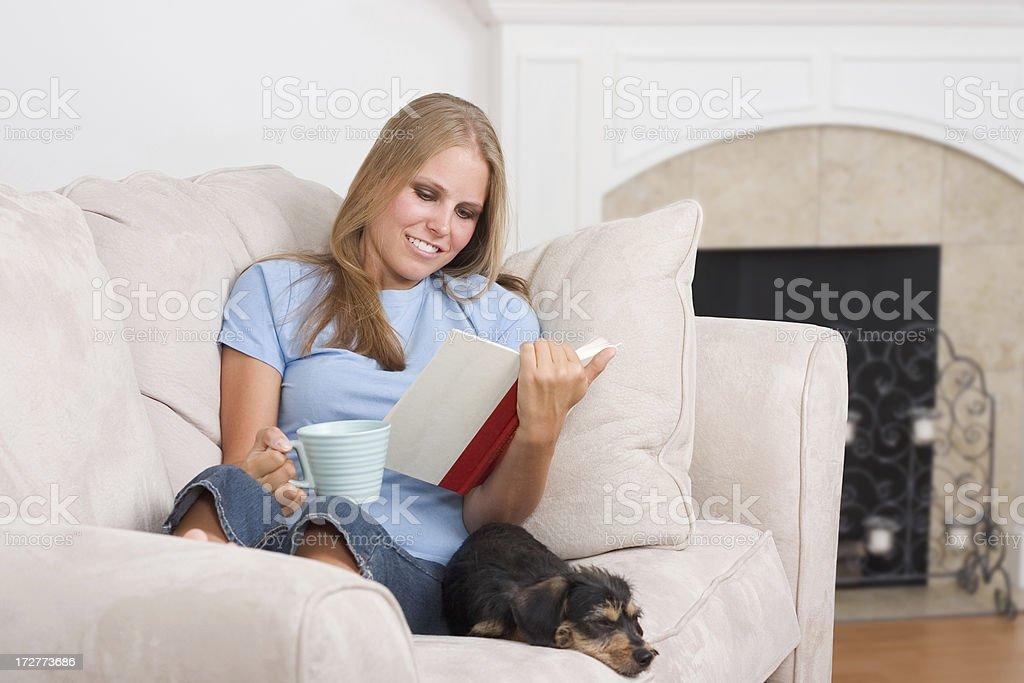 Reading on the Sofa royalty-free stock photo