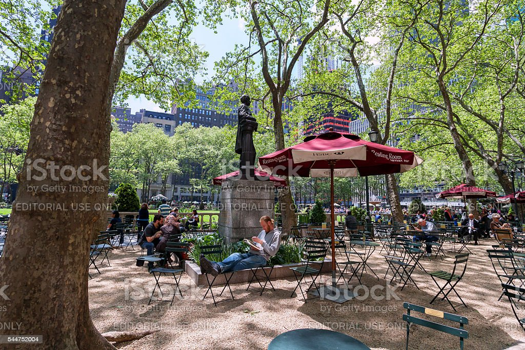 Reading room in Bryant park, Midtown, Manhattan stock photo