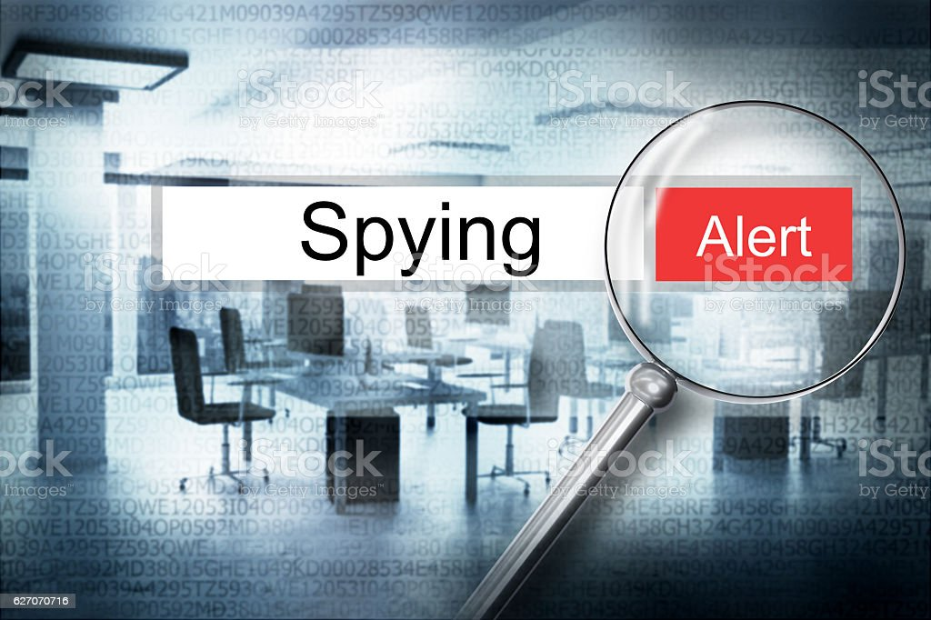reading spying browser search security alert 3D Illustration stock photo
