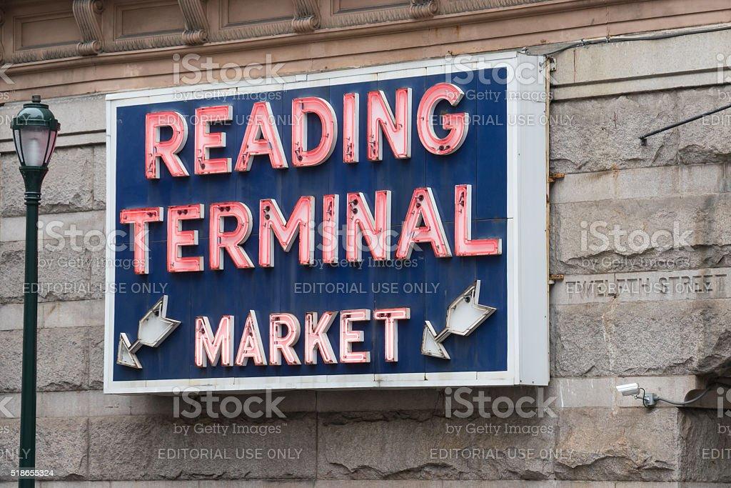 Reading Terminal Market Sign in Philadelphia stock photo