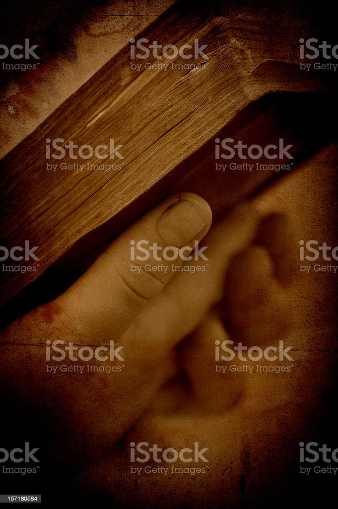reading the bible in sepia stock photo