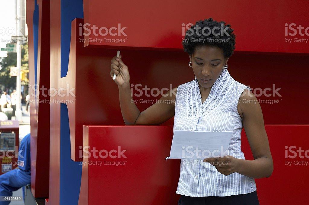 reading the documents royalty-free stock photo