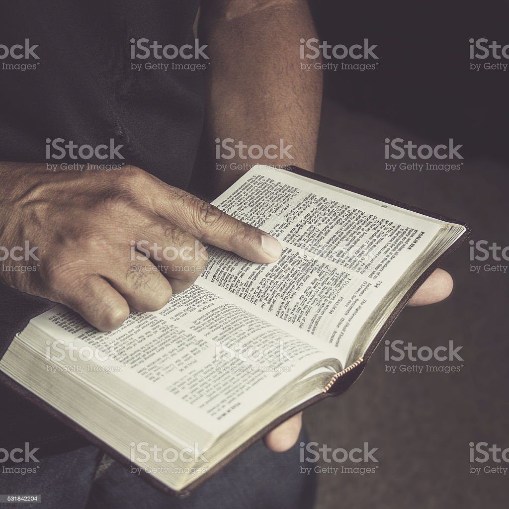 Reading the Holy Bible stock photo