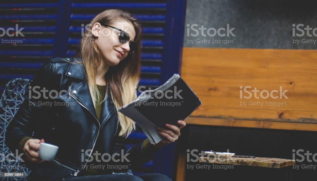 Reading the news stock photo