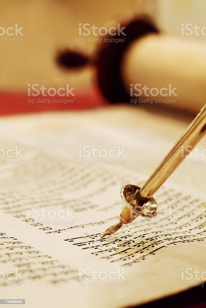 Reading the Torah Scroll stock photo