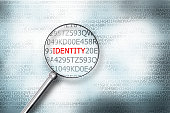 reading the word identity on computer screen magnifying g