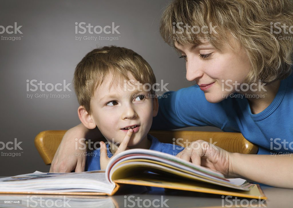 Reading together stock photo