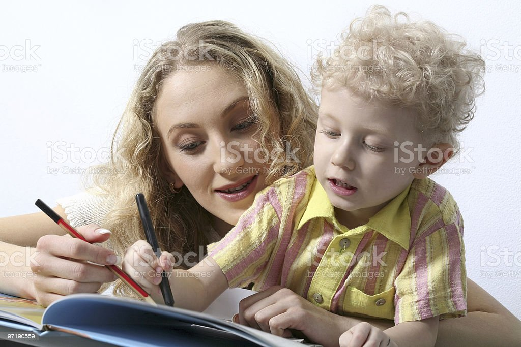 Reading together royalty-free stock photo