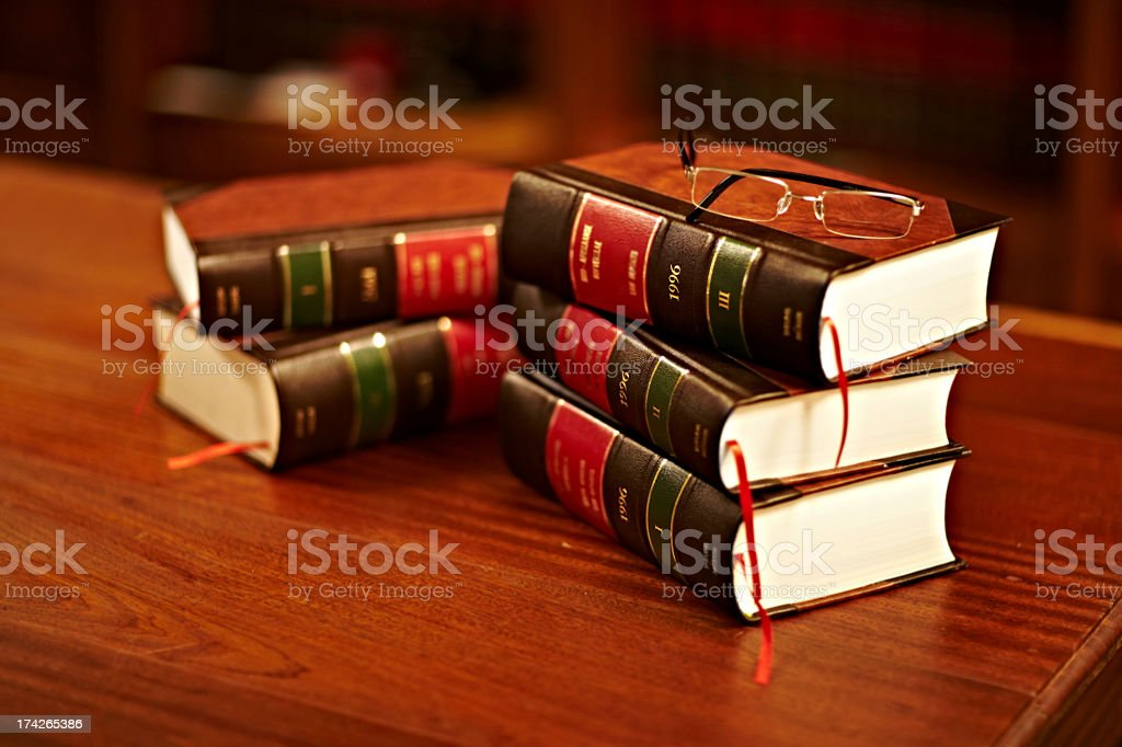 Reading up on the law stock photo