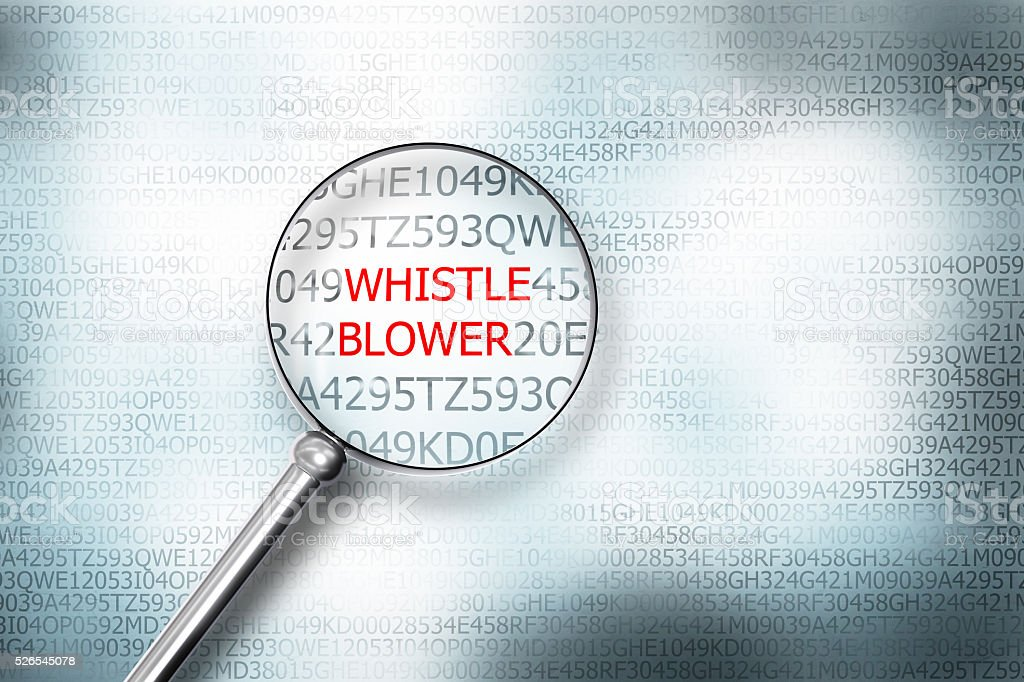 reading whistle blower screen magnifying glass 3d illustration stock photo