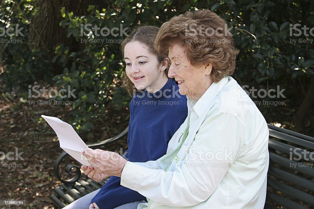 Reading With Grandma royalty-free stock photo