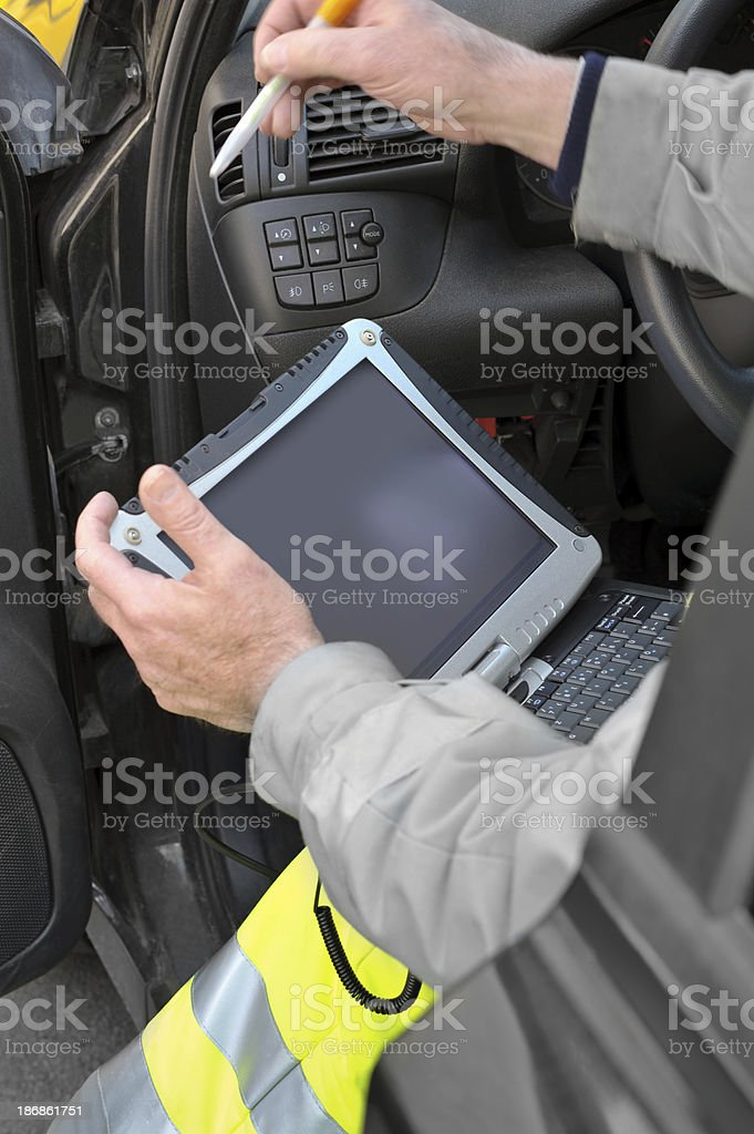 Readout of an On-Board Computer System stock photo