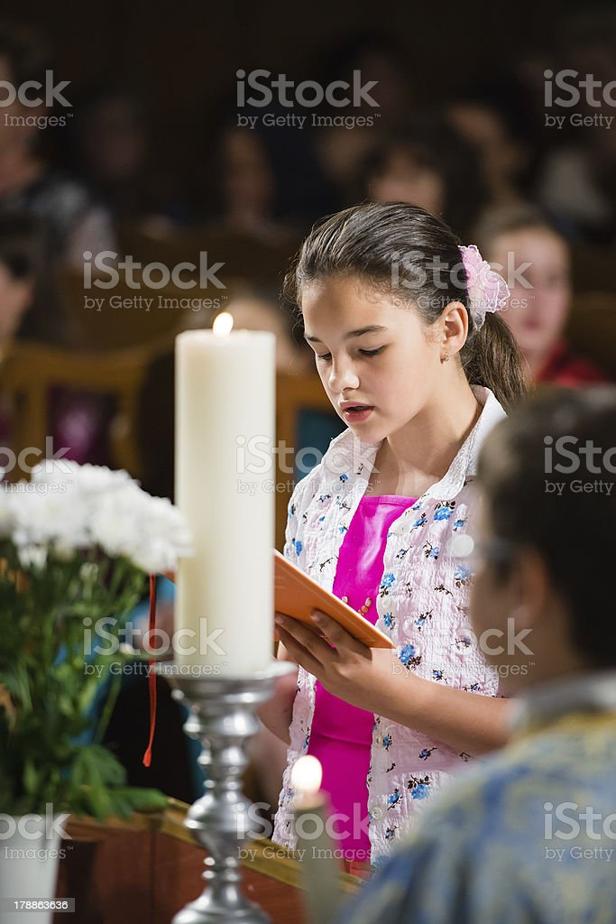 reads the prayer royalty-free stock photo