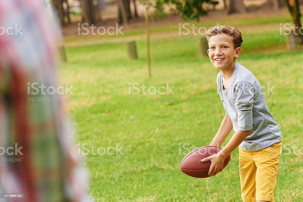 Ready dad?! stock photo