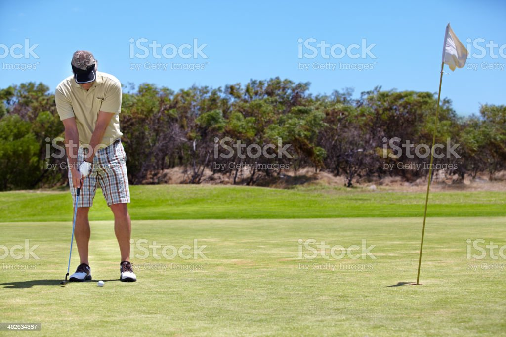 Ready for a winning putt! stock photo