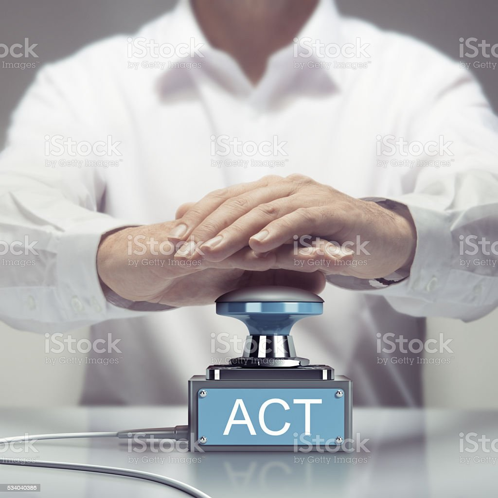 Ready for Action, Act Now stock photo