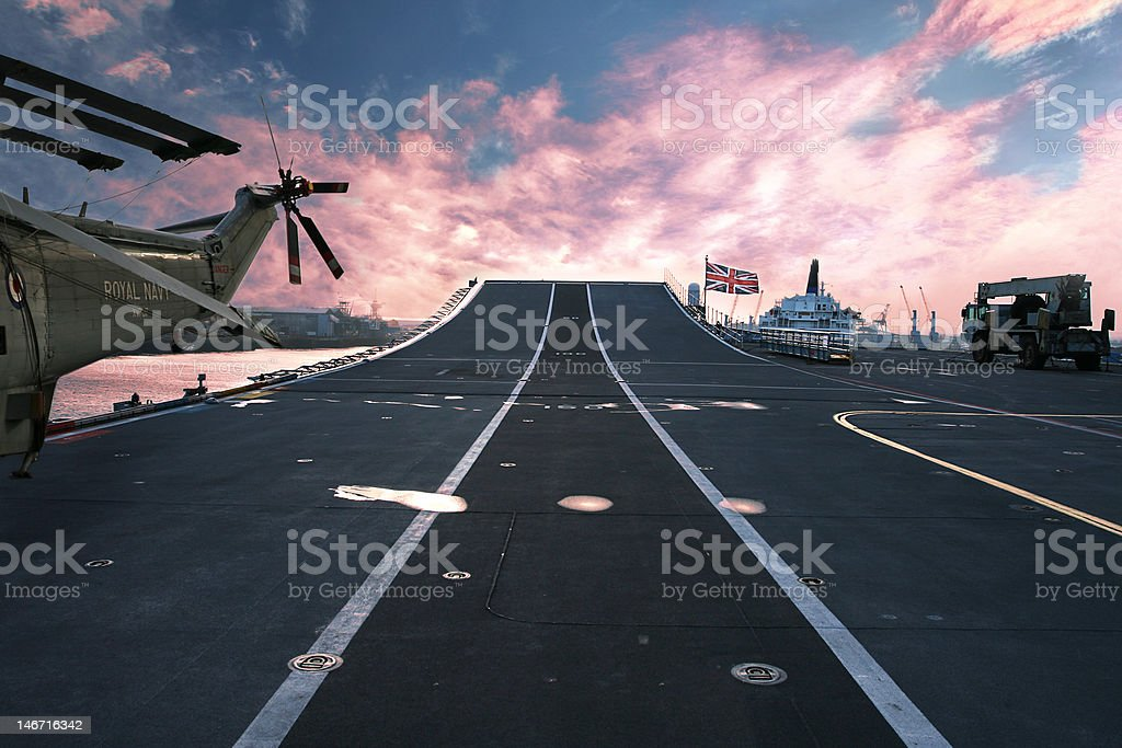 Ready for Action HMS Arc Royal Flagship of British Navy stock photo