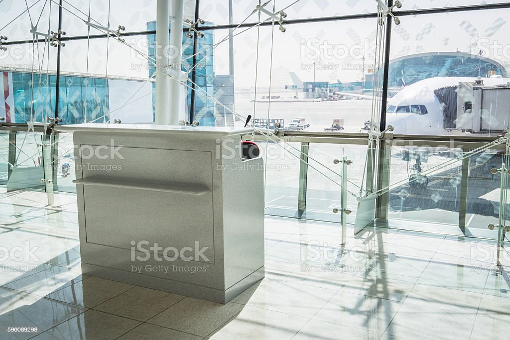 Ready for Boarding Empty Airport Terminal Gate Desk stock photo
