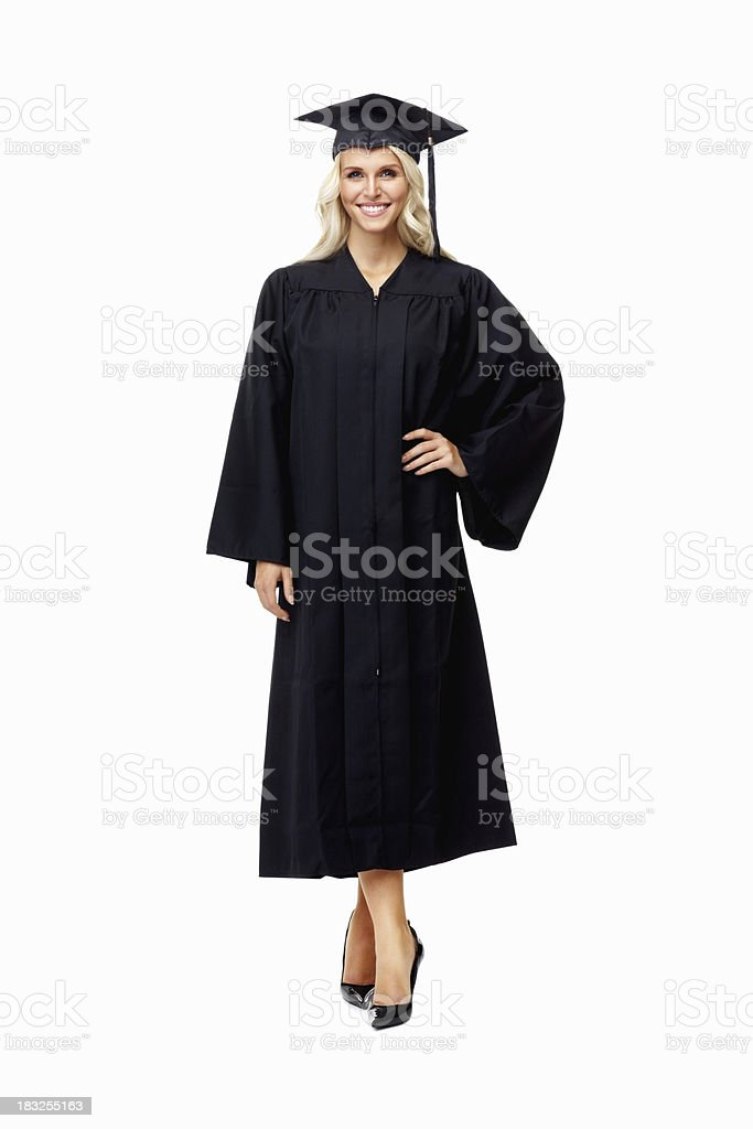 Ready for graduation - confident woman in gown royalty-free stock photo