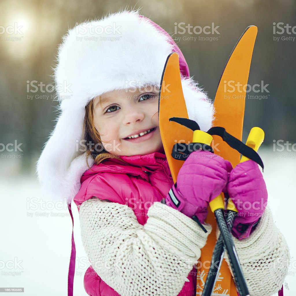 Ready for skiing royalty-free stock photo