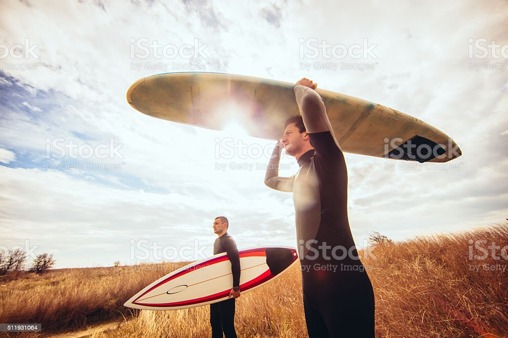 Ready for surfing stock photo