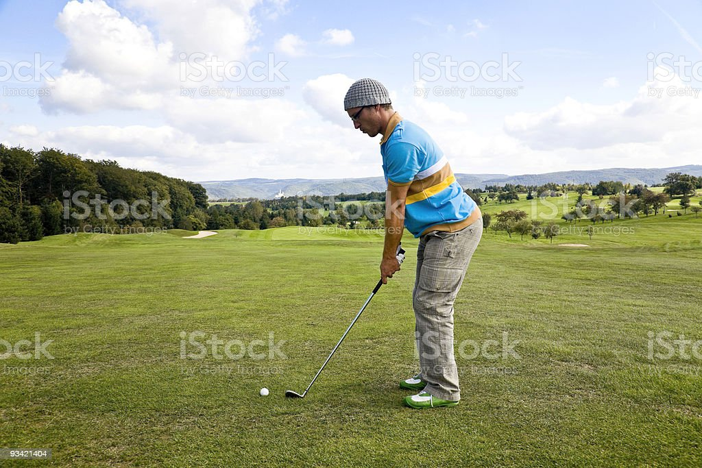 ready for the hole in one. stock photo