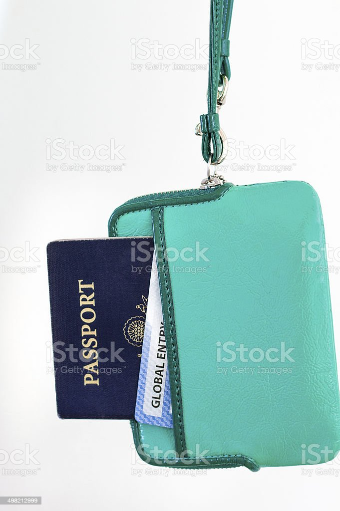 Ready for Travel: Woman's US Passport and Global Entry Card stock photo