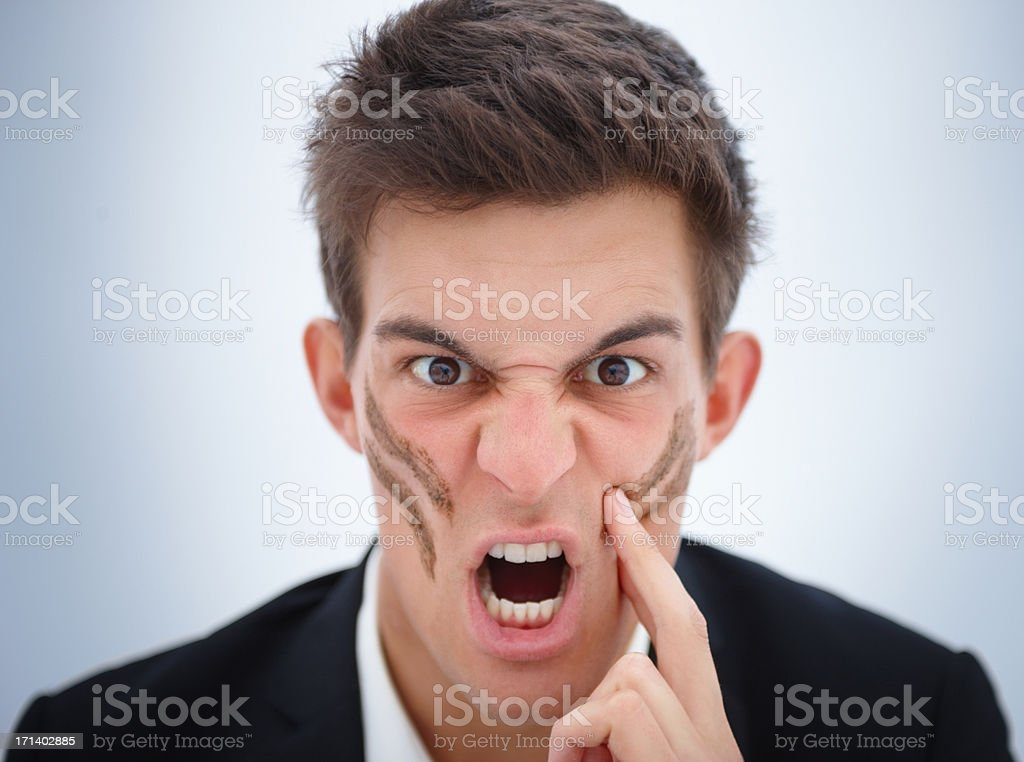 Ready for war!!! Aggressive expression royalty-free stock photo