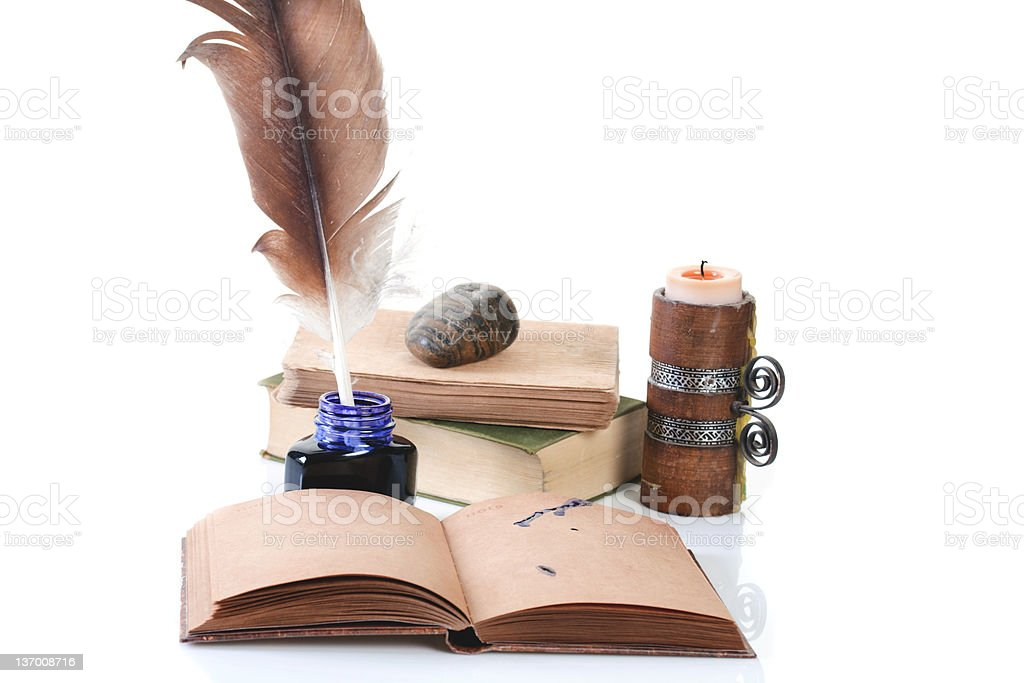 Ready for writing old style set royalty-free stock photo