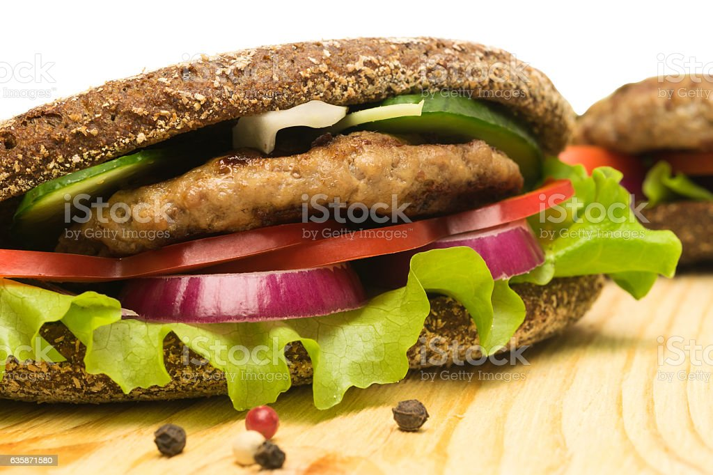 ready sandwiches with pork on the table stock photo