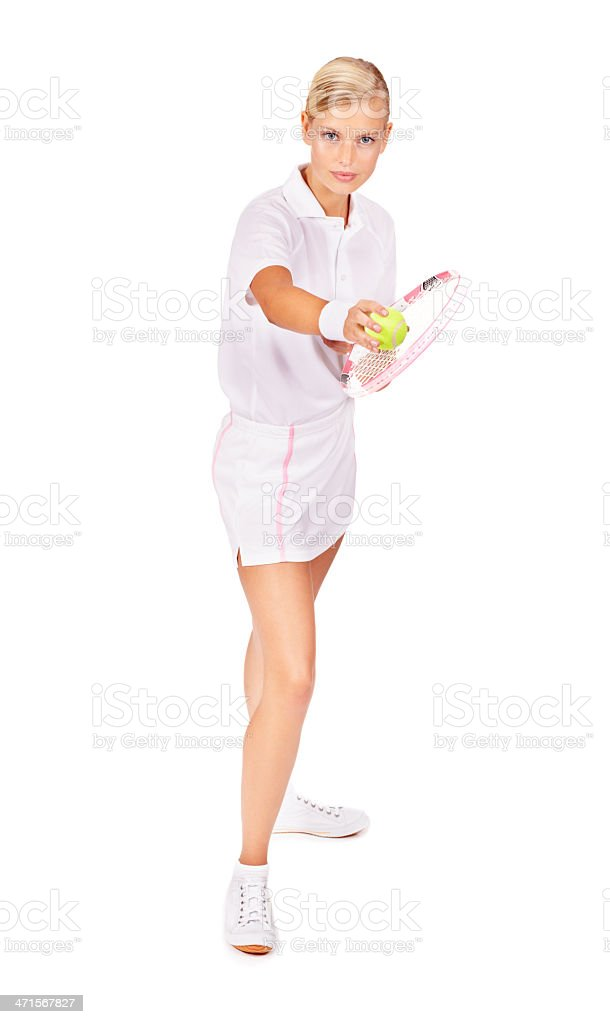 Ready to 'ace' her opponent royalty-free stock photo