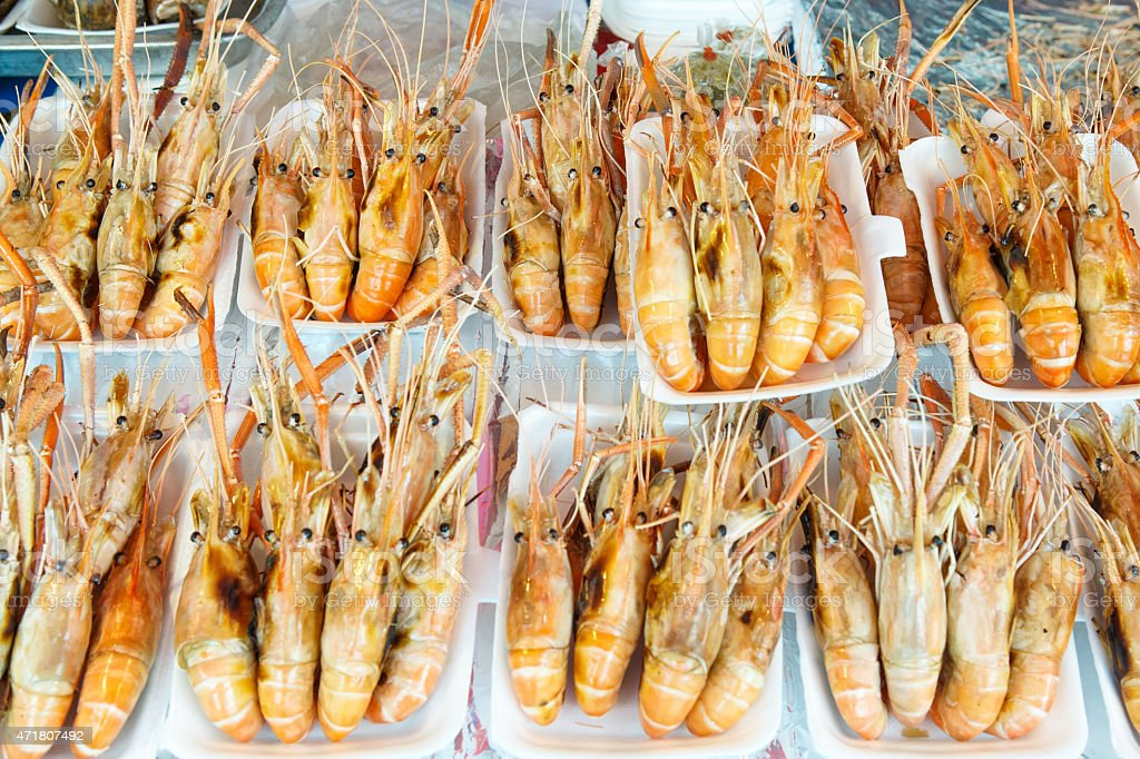 Ready to add to your dinner, large prawn or shrimp stock photo