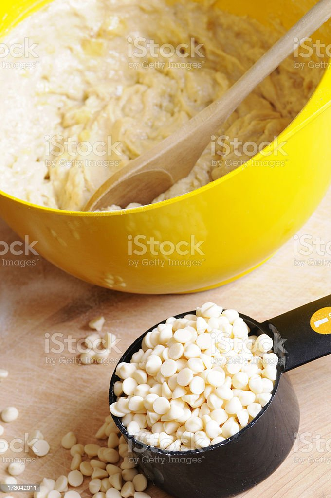 Ready to Bake: Batter and White Chocolate Chips royalty-free stock photo