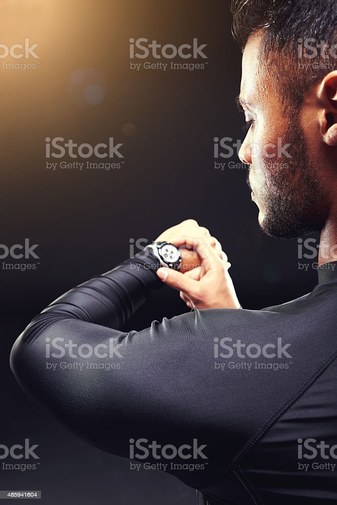 Ready to beat his personal best stock photo