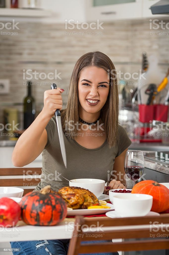 Ready to Carve the Holiday Turkey stock photo