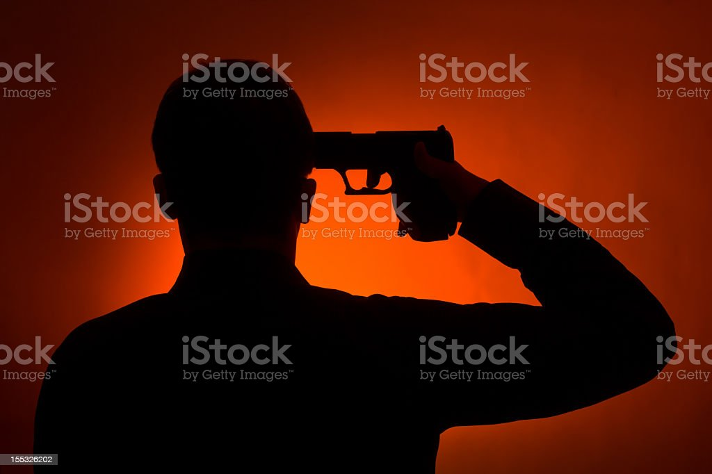ready to commit suicide man stock photo