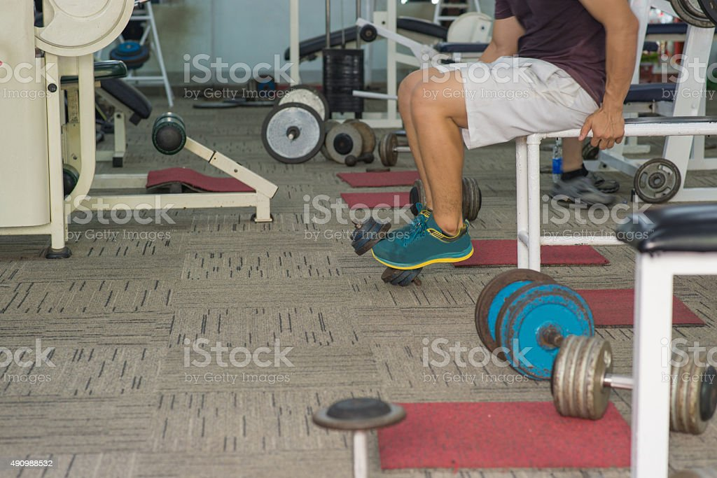 Ready to do sit-ups exercise stock photo
