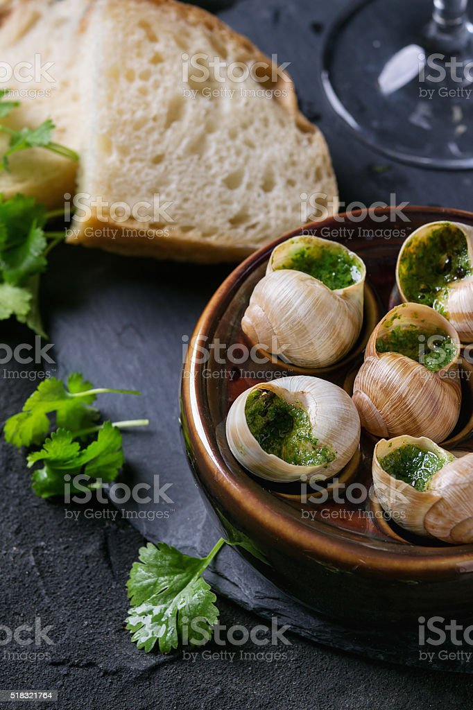 Ready to eat Escargots de Bourgogne snails stock photo