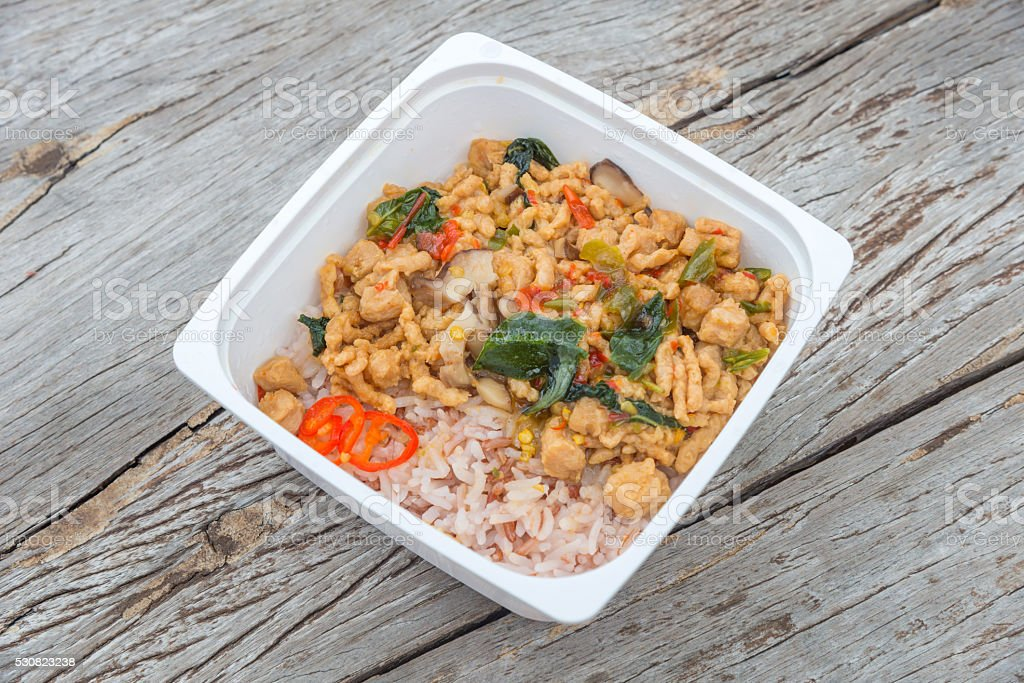 Ready to eat rice box vegetarian food for lunch stock photo