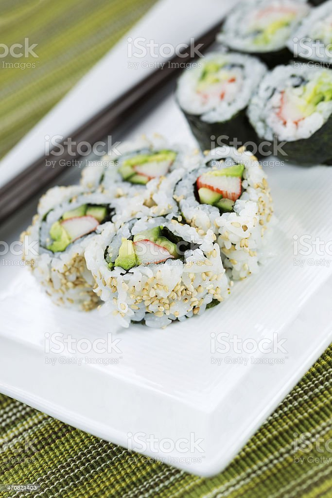 Ready to Eat Sushi on White Plate stock photo