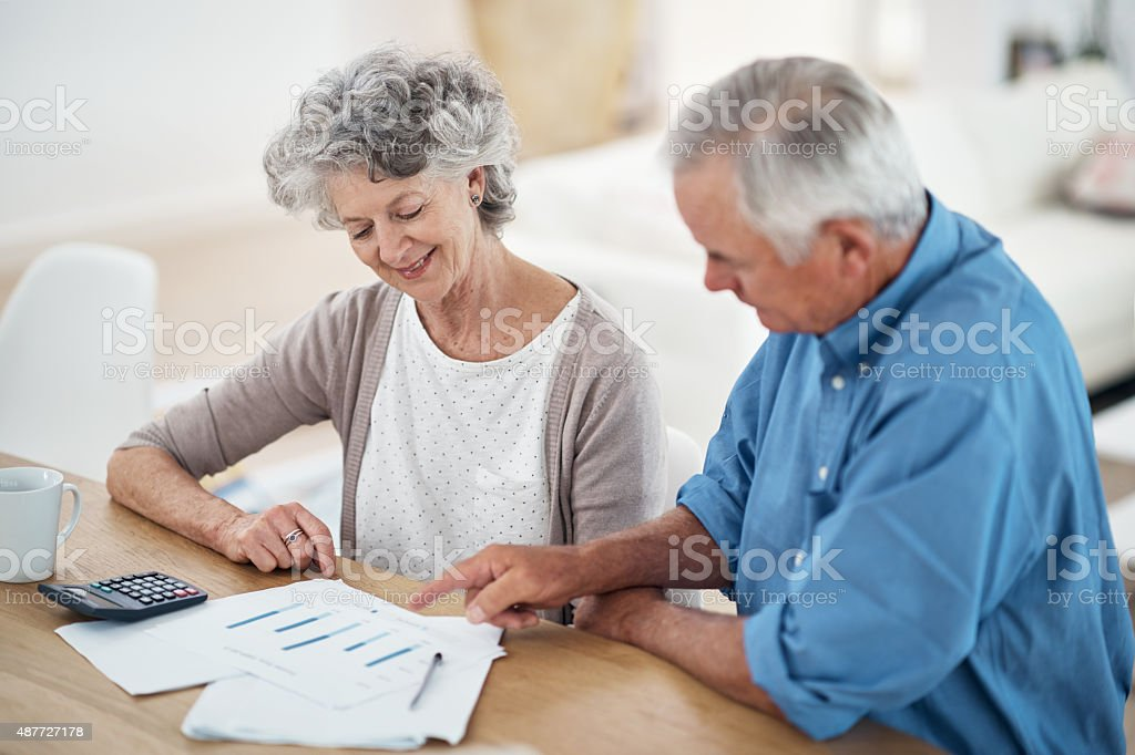 Ready to enjoy their golden years with their retirement savings stock photo