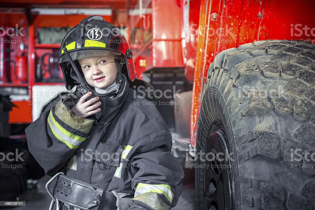 Ready to fight fire stock photo