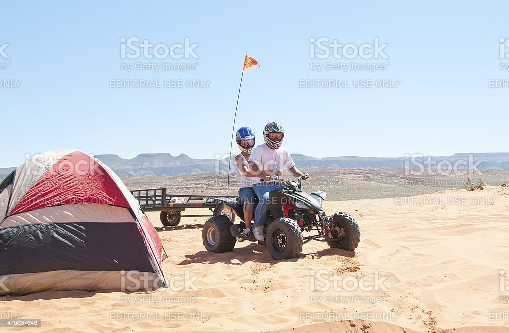 Ready to go ATVing on the dunes stock photo