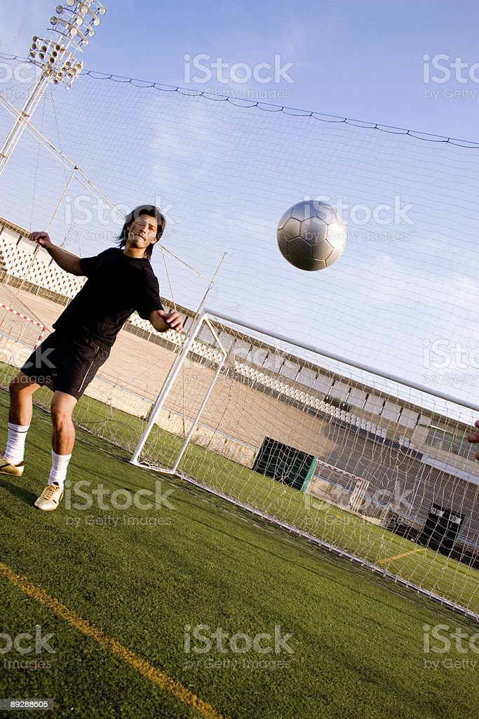 Ready to kick the ball stock photo
