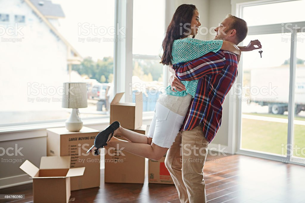 Ready to make new memories in their new home! stock photo