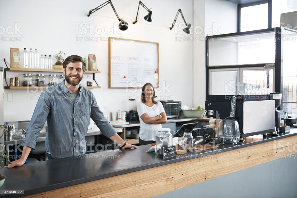 Ready to make you the perfect cup of coffee stock photo