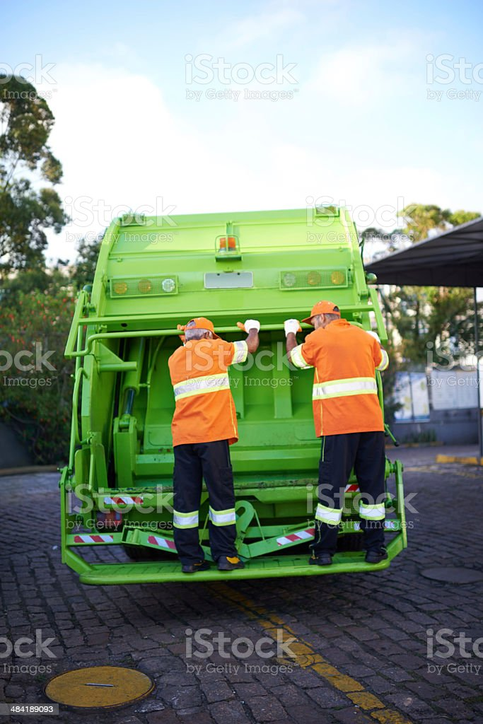 Ready to pick up all the trash around here stock photo